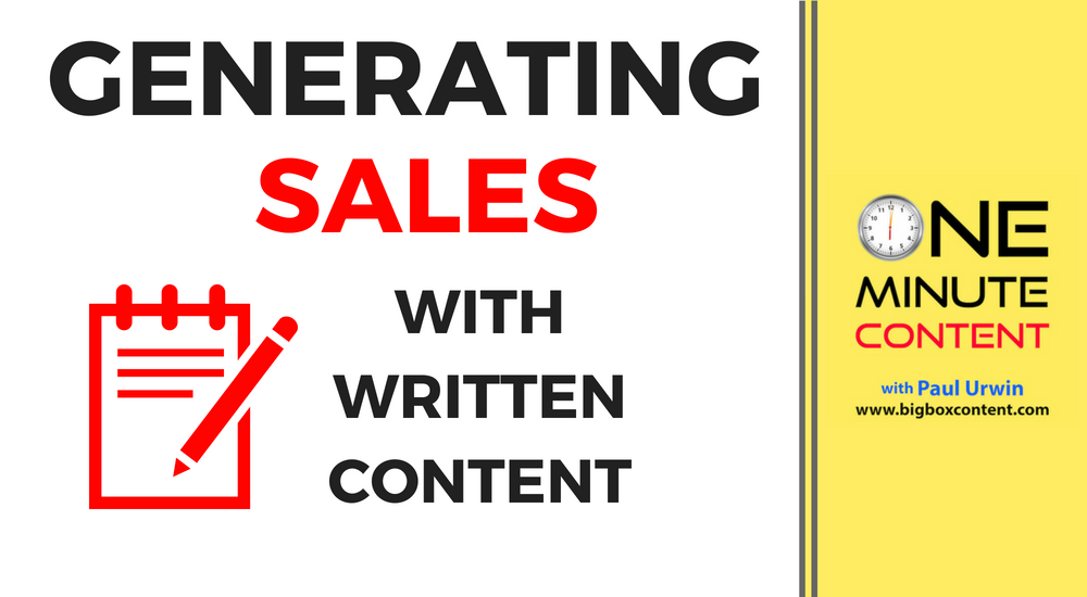 Generating Sales With Written Content